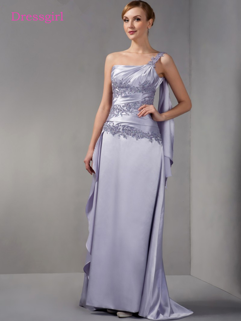 Silver 2019 Mother Of The Bride Dresses A-line One-shoulder Lace Beaded Plus Size Long Elegant Groom Mother Dresses Wedding