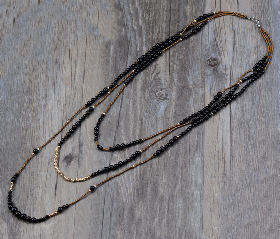 Boho Black Onyx with Seed Beads 3 Layers Beaded Necklace Classic Natural Stones Women Statement Necklace Vintage Jewelry