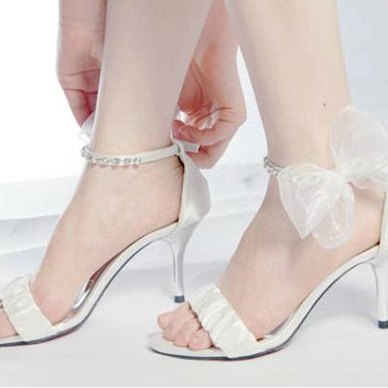 ФОТО New Style Summer High Heel Sandals Bowknot Sexy Ultra Woman Dress Shoes Bridal White Wedding Dress Shoes Free Shipping