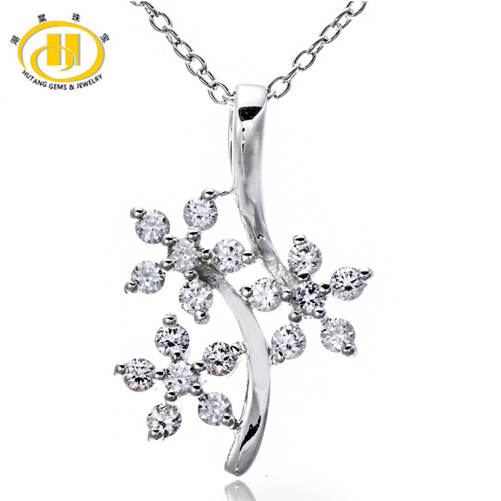 Hutang 100 Natural White Sapphire Flower Pendant 925 Sterling Silver Necklace Fine Gemstone Elegant Jewelry for