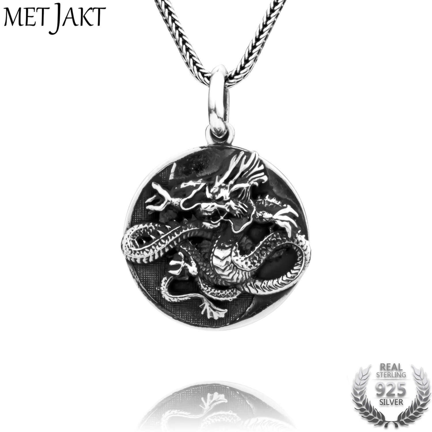 MetJakt Handmade 925 Sterling Silver Dragon Pendant Necklace Vintage Tai Chi Gossip Pendant for Men s
