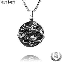 MetJakt Handmade 925 Sterling Silver Dragon Pendant Necklace Vintage Tai Chi Gossip Pendant for Men's Punk Jewelry