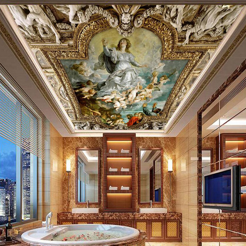 Photo Wallpaper European Style Ceiling Zenith Mural 3D Figure Oil Painting Background Wall Paper Living Room Restaurant Frescoes
