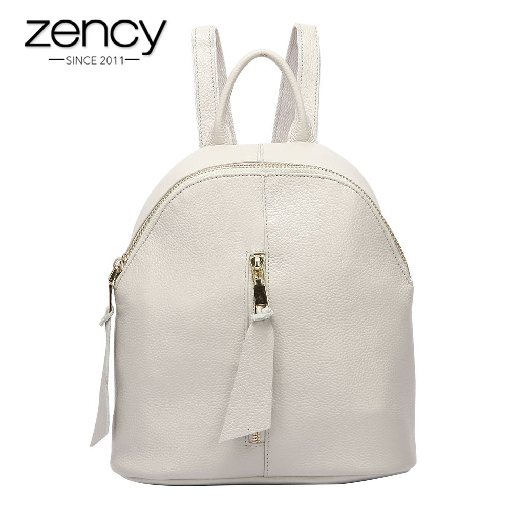 Zency Beige Women Backpack 100% Real Cowhide Leather Schoolbag For Girls Daily Casual Travel Bags Black Small Knapsack