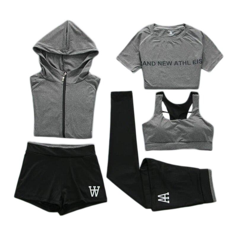Femmes course Sport Fitness 5 pièce ensemble confortable Jogging costumes pour femmes mujer 2018 grande taille XXL survêtement Yoga Sport porter