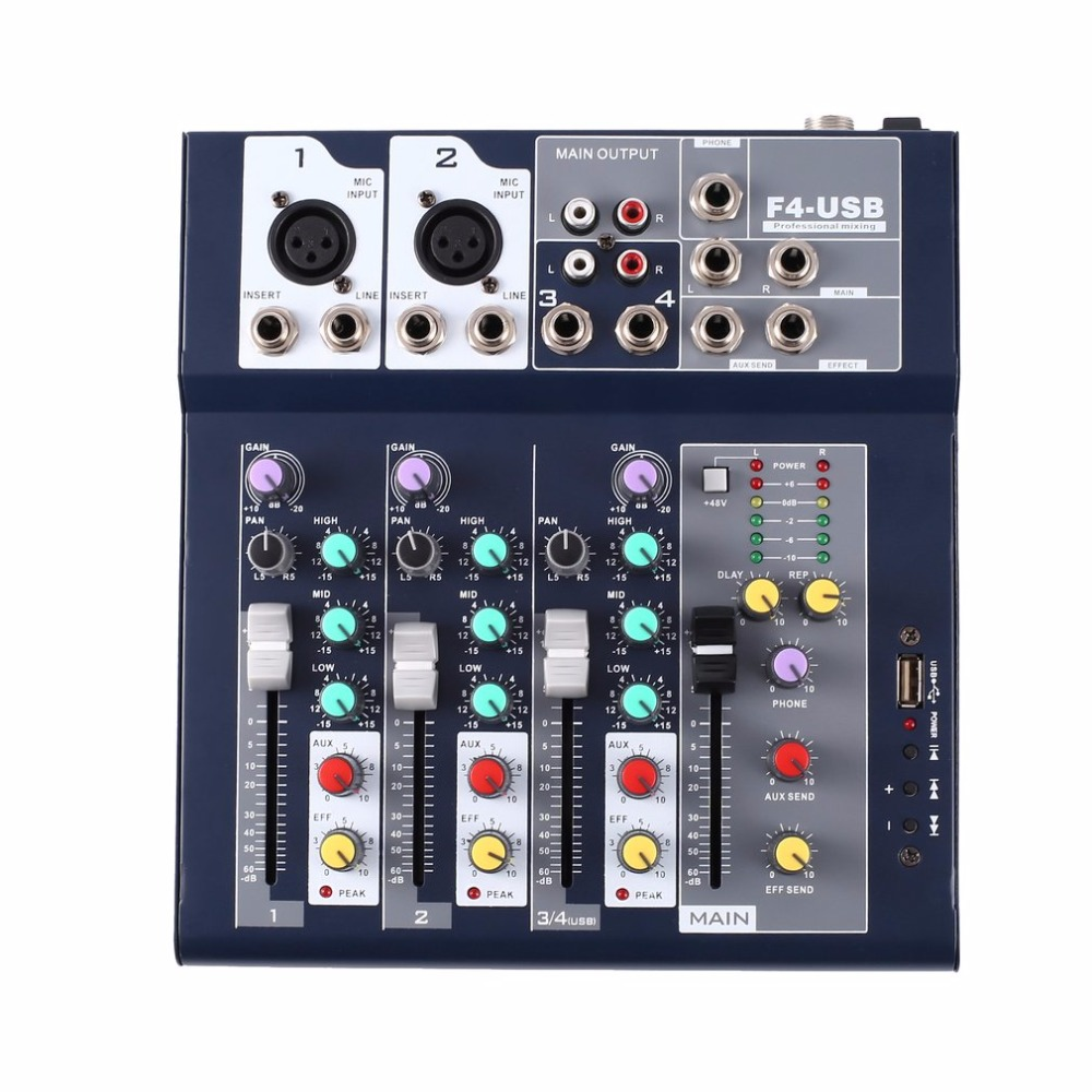 F-4 4 Channel Professional Live Mixing Studio Audio Sound Console Network Anchor Portable Mixing Device Vocal Effect Processor professional 4 channel live mixing studio audio sound console network anchor portable mixing device vocal effect processor