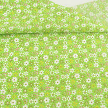 Green Printed Lovely Flowers Design Cotton Fabric Pre-cut Fat Quarter Patchwork for DIY Crafts Curtain Sewing Telas Tecido Tissu(China)