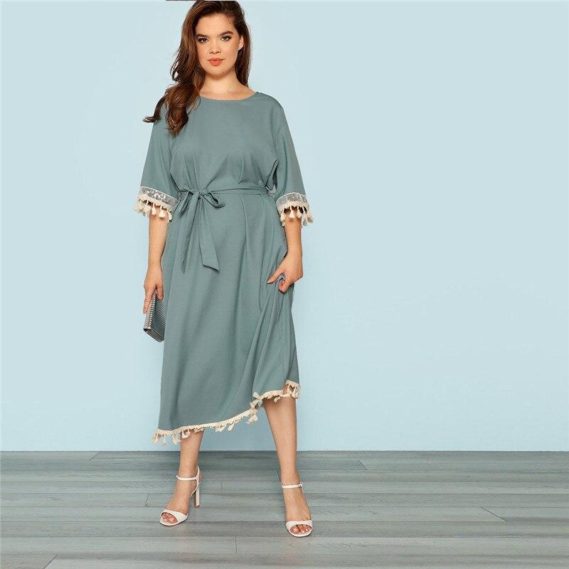 ee86cc36ce9 SHEIN Blue Plus Size Half Sleeve Tassel Trim Elegant Belted Women ...
