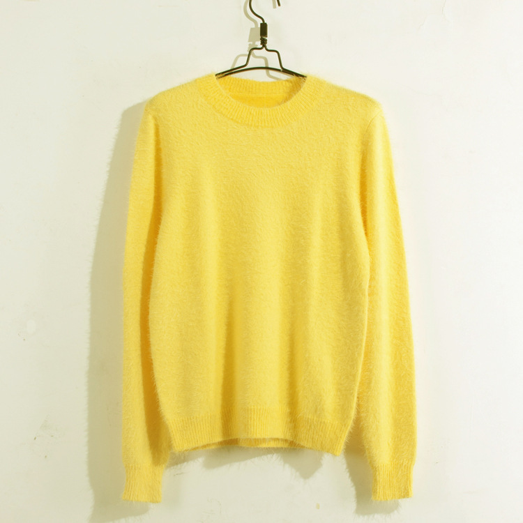 Thermal Men's Soft Yellow Mohair Elastic Pullover Kntting Sweater ...
