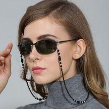 Модная шикарная Женская цепочка для солнцезащитных очков, черный ремешок на шею с бусинами, аксессуары для шнура