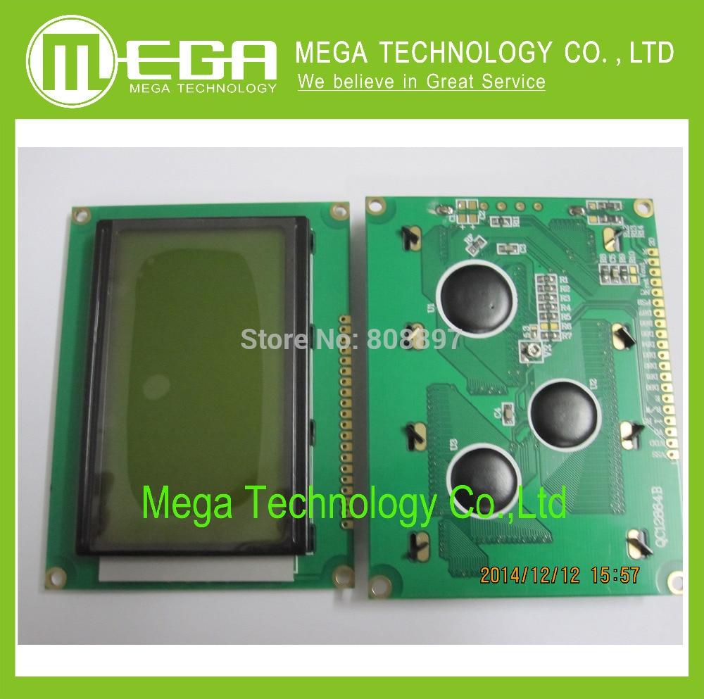 Free shipping 10pcs LCD 12864 128x64 Dots Graphic Yellow Green Color Backlight LCD Display Shield 5.0V