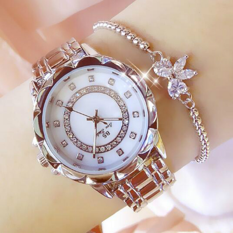 New Fashion Silver Women Watch Rose Gold Steel Quartz Bracelet Watches Ladies Waterproof Luxury Wristwatch Relojes 2017