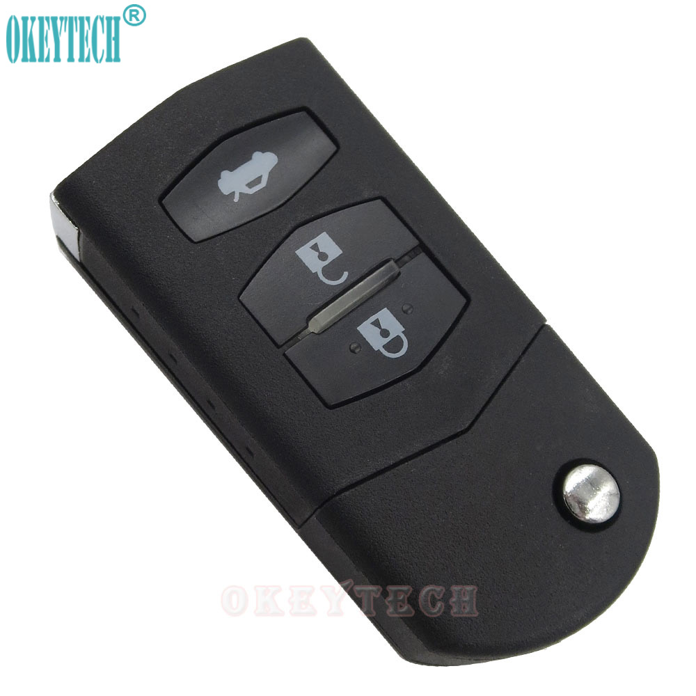 OkeyTech 3 Buttons Remote Car Flip Key Shell Housing Case For Mazda 2 3 5 6 Rx8 Mx5 Atenza Replacement FOB Cover Free Shipping image