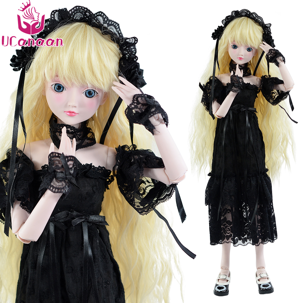 Ucanaan 1/3 Large BJD/SD Cute Lolita Doll Design Dress Up 19 Moveable Joint Body High Quality Toy Fashion Black Dress Make Up цена 2017