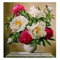 Peony Vase 50x53cm Full Drill Diamond Embroidery 3d Diamond Cross Stitch Fashion Diamond Mosaic Pictures Of