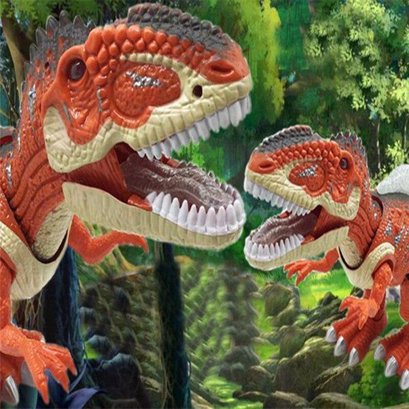 Figure de jouet de dinosaure t-rex de marche électronique oscillant des lumières de LED d'action de queue marchant le cadeau électronique rugissant pour la vente d'enfant B2