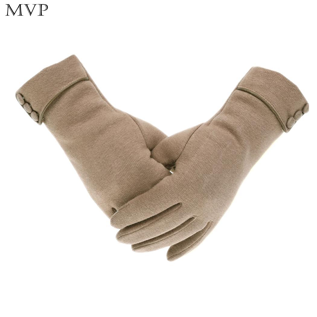 Gloves Outdoor Wrist Gray Soft Warm Windproof Wine Solid Coffee Winter Casual Red Black Gloves Button Women Khaki