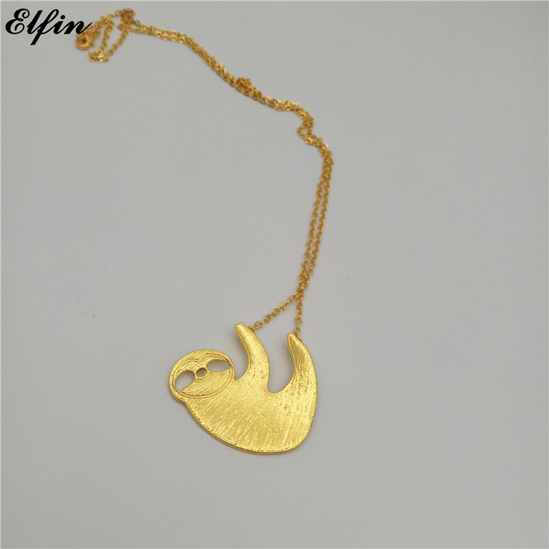 Elfin Wholesale 2017 Trendy Sloth Necklace Gold Color Silver Color Bradypus Jewellery Pendant Necklace Women Steampunk 20