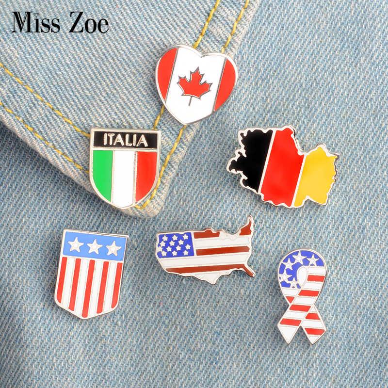 6 Gaya Kanada Jerman Amerika Serikat Bendera Enamel Jarum Bintang dan Garis-garis Bros Hadiah Lencana Tombol Kelapak Perhiasan Pakaian Jeans Tutup tas