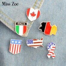 6 стилей; Канада Германия США Флаги эмали штырь для фотосъемки со звездами и полосками Броши Подарочный значок кнопки ювелирное украшение в ...