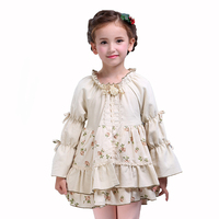 秋のaライン女の子ドレス子供綿王女ローブ子供レトロティアード長袖ボールガウンパーティー服のため赤ちゃん-10y
