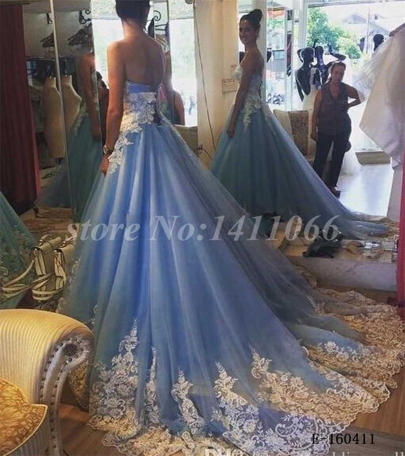 30af25cf18 Light Blue Colored Wedding Dress with Lace Appliques Design Off the ...