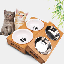Pet Dog Bowl Bamboo Stainless Steel Ceramic Feeding and Drinking Bowls Combination with Frame for Cats Feeder