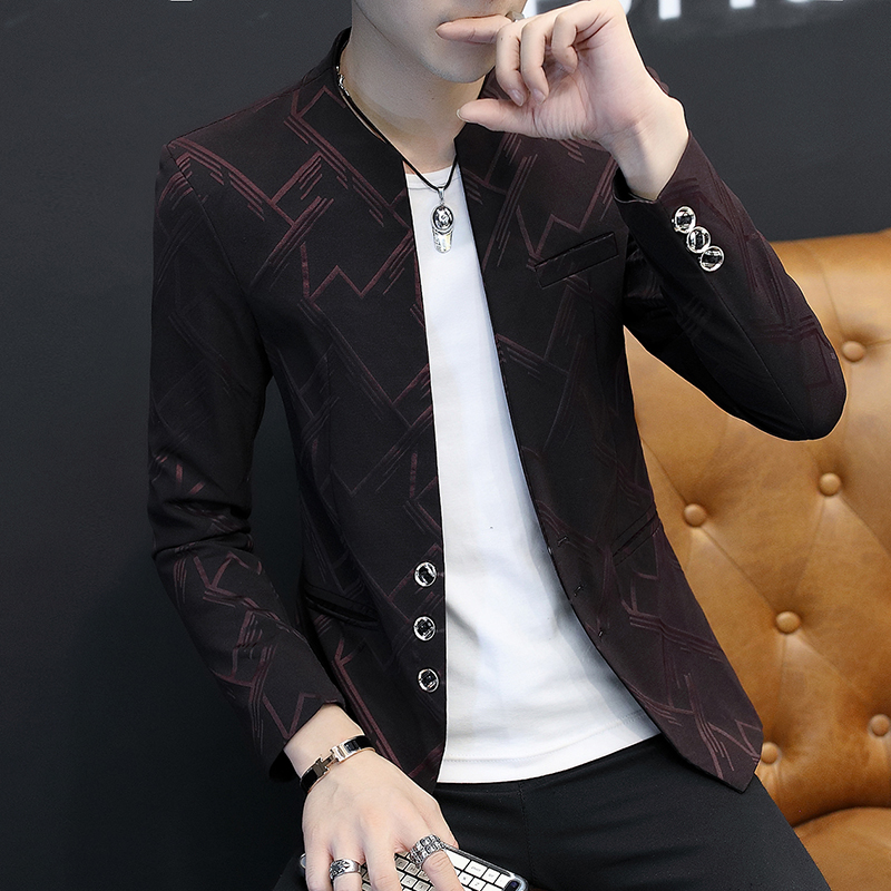 2020 Men Fall Leisure Blazer Youth Favors Cultivate One's Morality Printed Striped Suits Thin Handsome Blazer