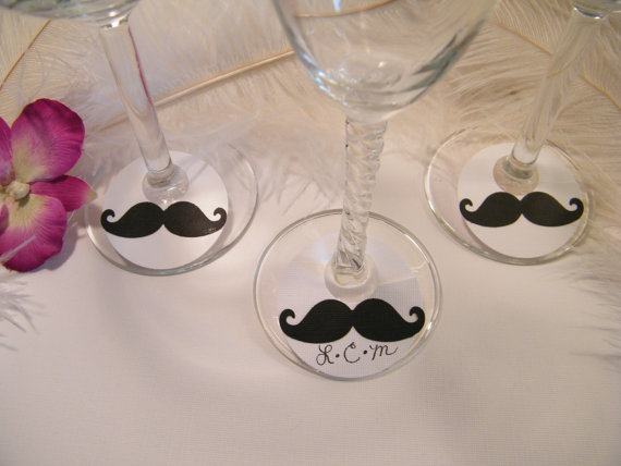 Aliexpress Buy Mustache Wine Glass Lables Markers Tags Wedding
