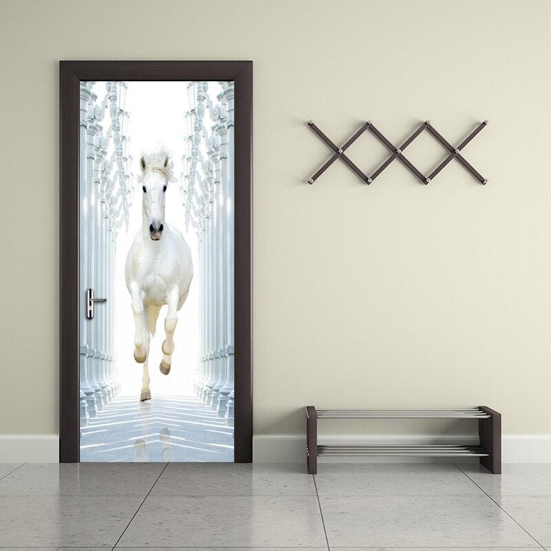 Roman Column White Horse 3D DIY Door Wall Stickers Home Decor Modern Study  Room Bedroom Door Mural Vinyl Wallpaper Sticker PVC-in Wallpapers from Home  ...