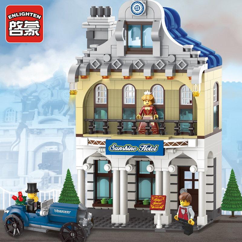 Sunshine Hotel Enlighten 1127 Deluxe Villa Suite Bricks Toys minis Building Block sets Toys Compatible With Legeoe DIY free shipping plate 2x4 diy enlighten block bricks compatible with lego assembles particles