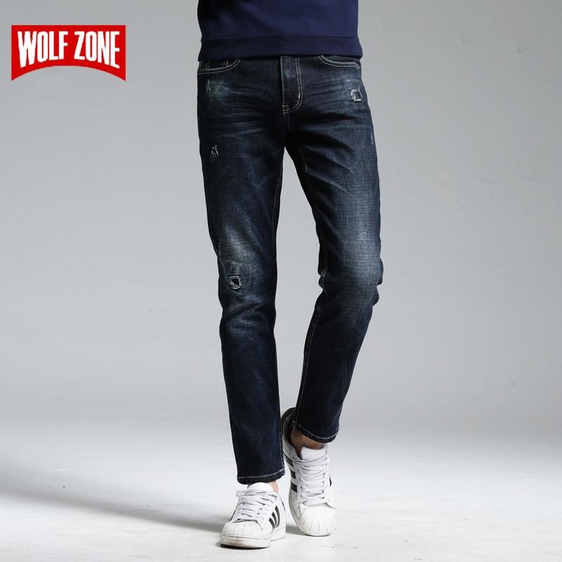Nový příjezd 2017 Jeans Men Bavlna Biker Slavná značka Stripe - Pánské oblečení