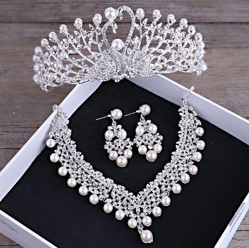 Shosixuan Wunderschone Hochzeit Tiara Simulierte Perlen Schmuck