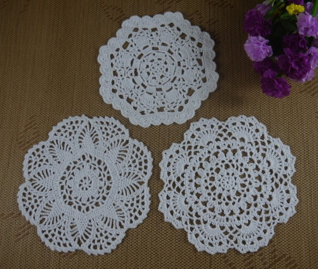 Free Shipping 36pcs Handmade Crochet Pattern Doily 3 Designs Cup Pad