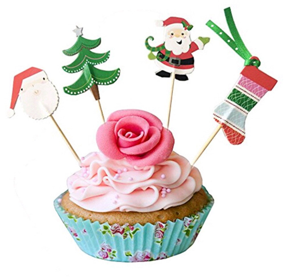 48Pcs Merry Christmas Cake Topper Happy \