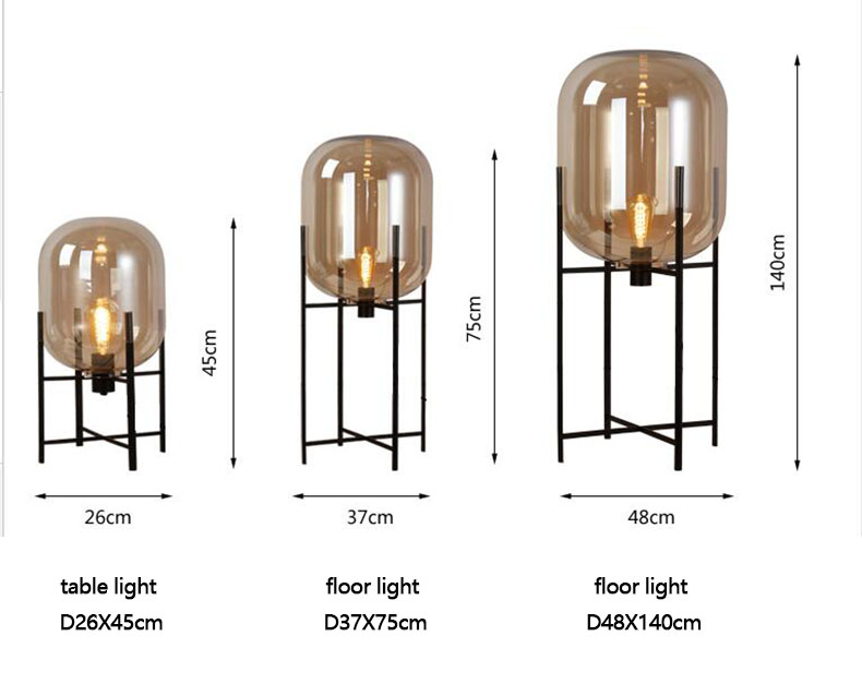 8f21544722654 Original Art Glass Floor Lamps Lights for Amber Smoky Colour Wrought Iron  Stent For Living Room Country House Bar Hotel-in Floor Lamps from Lights ...