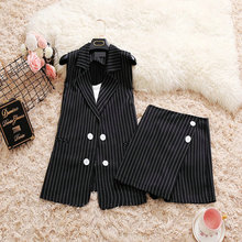 2018 summer new female Suit collar vertical stripes double-breasted long vest jacket culottes fashion suit women's 3 piece sets
