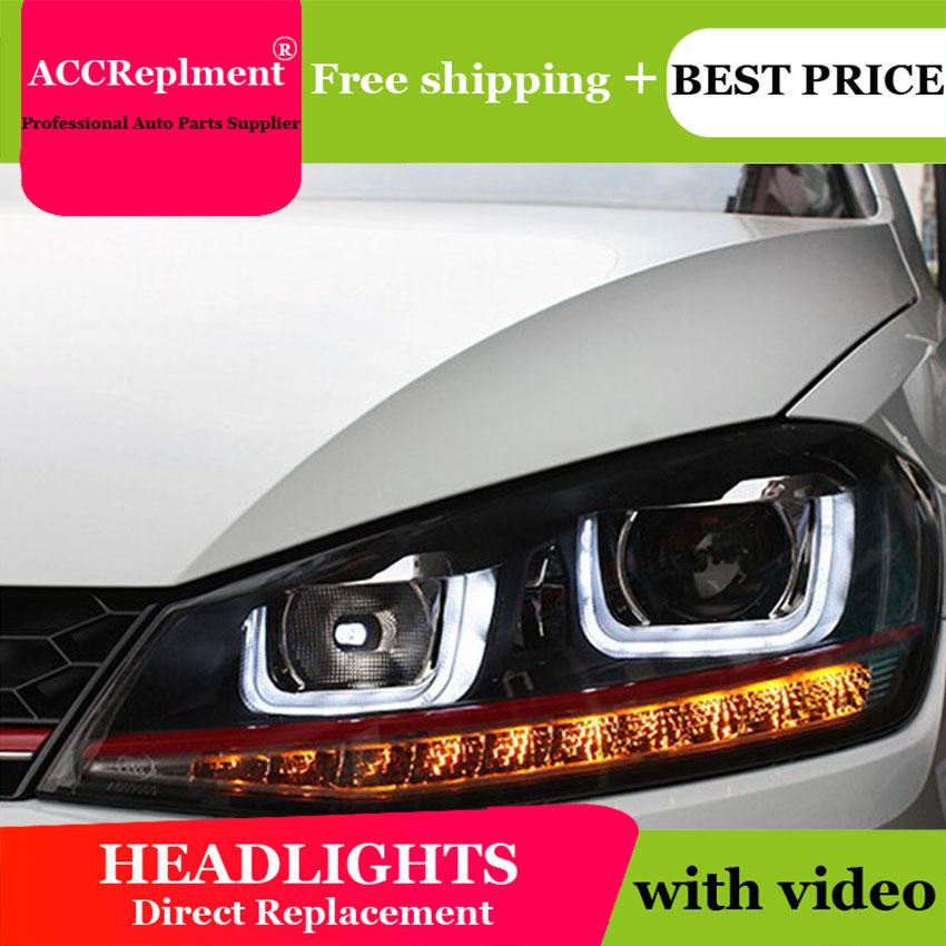 AUTO.PRO vw golf 7 headlights Q5 bi xenon lens LED Angel Eyes DRL vw golf mk7 head lamps car styling H7 xenon LED light guide