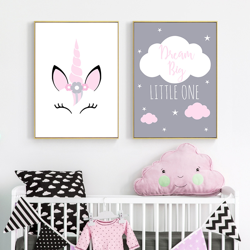 HTB1MsFnaXP7gK0jSZFjq6A5aXXaQ Unicorn Canvas Poster Baby Girl Nursery Quotes Wall Art Print Love You to the Moon Painting Nordic Kids Room Decoration Picture