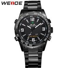 WEIDE LED De Luz de múltiples funciones Reloj Militar Deportes Relojes de Cuarzo de Acero de Lujo Completa Marca Casual 3ATM Resistente Al Agua