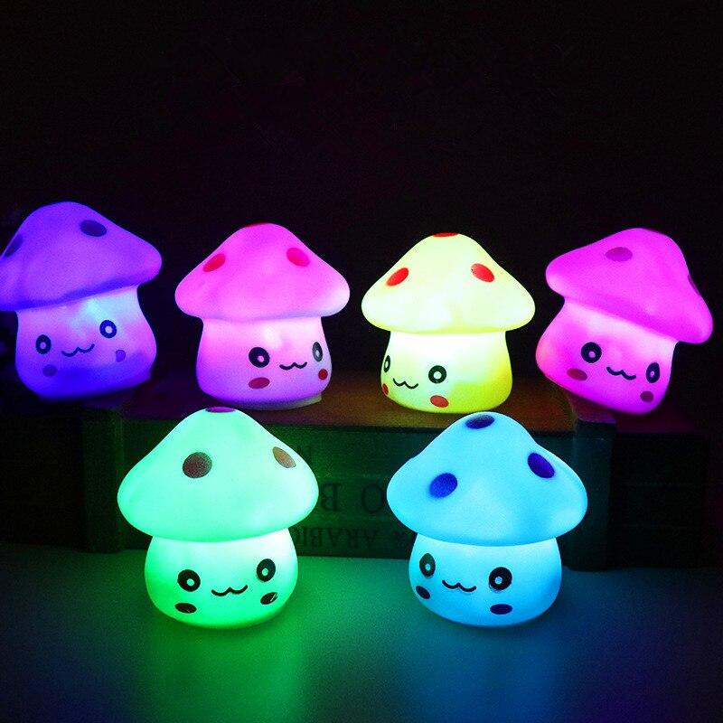 New Cute 6.5cm Color Changing LED Mushroom Lamp Party Lights Mini Soft Baby Child Sleeping Nightlight Novelty Luminous Toy Gift