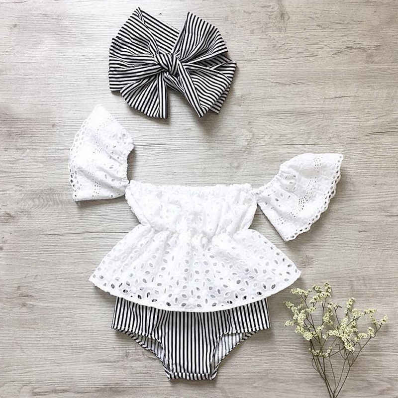 Baby Meisje Off Shoulder Kant Tops Streep Shorts Slips 3 pcs Outfit Kleding Zomer