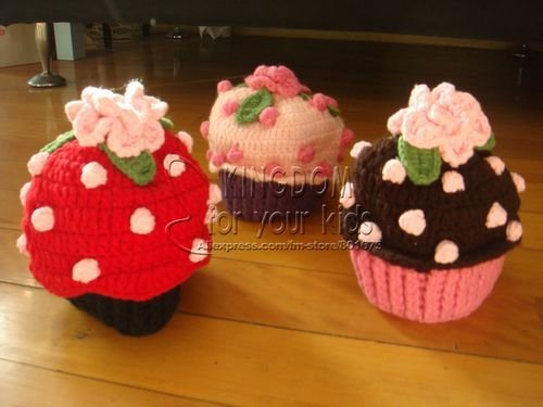 Free Shipping Childrens Caps Knitting Cupcake Beanie Baby Crochet