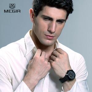 Image 5 - MEGIR fashion mens quartz wristwatch  mens luxurious business waterproof watch 2008 free shipping
