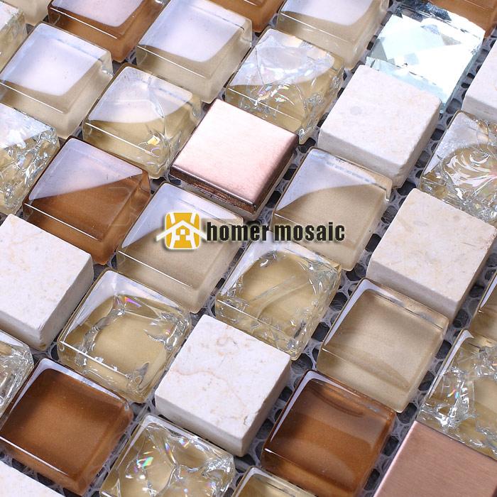 vidrio de color marrn claro mezclado azulejos de mosaico de piedra para bao ducha baldosas backsplash