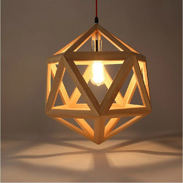 Wood Pendant Lights Modern Restaurant Droplight Creative Art Hexahedral Wooden Hanging Lamp Indoor Lighting Fixture Abajur In From