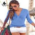 WomensDate 2016 Autumn Women's Sexy Deep V Neck Long Sleeve Tops T Shirts Female Casual Slim Blue Tee Shirts S-XL