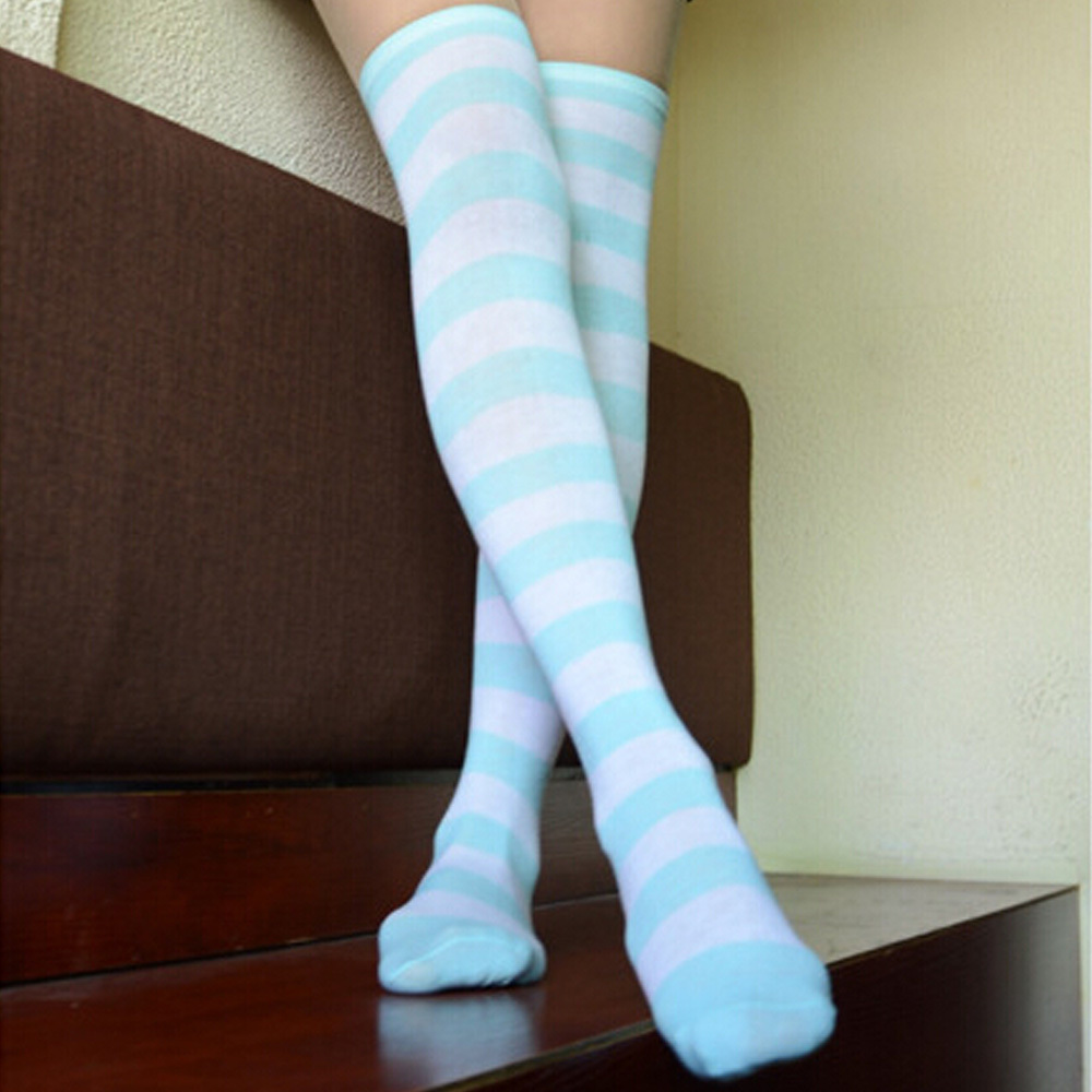 Factory Price! Sexy Women Girl Thigh High Striped Over The Knee Cotton Stockings