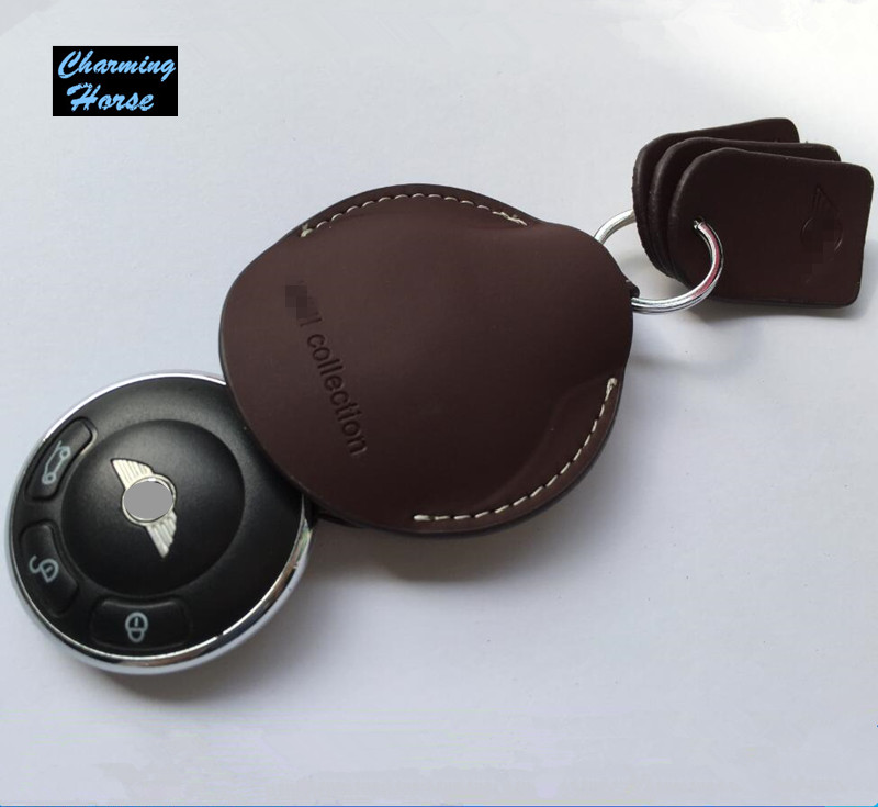 Leather Key Case Fob Holder For BMW Mini Cooper Clubman Countryman Paceman Roadster R55 R56 R60