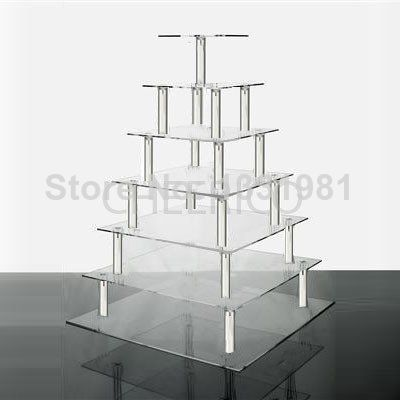 7 Tier Square Wedding Acrylic Cupcake Stand Tree Tower Cup Cake Display by Cheerico decoration